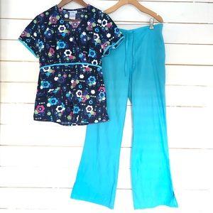 Scrub set - floral top & aqua blue pants Sz S